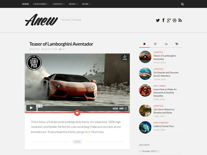 WordPress тема: Anew
